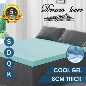 Memory Foam Mattress Topper COOL GEL 8CM BAMBOO Cover Protector *Dream lover