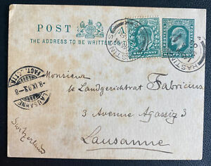 1903 Hasting England Postcard Postal Stationery Cover To Lausanne Switzerland