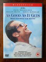 As Good It Gets DVD 1997 Comédie Drame Film Classique Largeur / Jack Nicholson