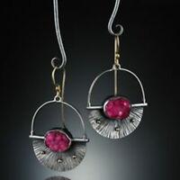 Women Vintage Turquoise Ear Hook Stud Dangle Long Drop Earrings Moonstone