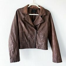 Blu Pepper Women's Sz M Brown Faux Leather Zip Up Jacket Blazer Distressed