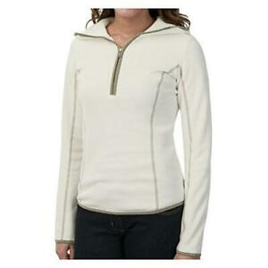 New $349 Women's Cima Mid Layer Microfleece Hoodie  Extra Small  White Ladies XS