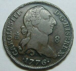 1776 SEGOVIA 8 MARAVEDIS CHARLES III HIGH GRADE SPANISH COLONIAL ERA COPPER COIN