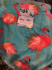 Cynthia Rowley Pink Flamingo Throw Blanket Tropical Summer Blue Micro Fleece NEW
