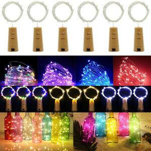 1-10pcs LED Wine Bottle Fairy String Lights Battery Cork Xmas Wedding Party Home
