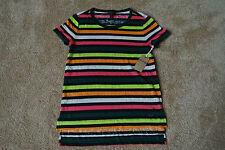 TRUE RELIGION Neon Multi Stripe T-Shirt S/P NWT$109 Crew Neck-TR Metal Logo!SOFT