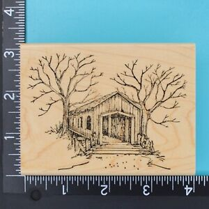 Covered Bridge P1212 Winter Trees Art Impressions Wood Mounted Rubber Stamp 1996