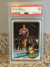1979 Topps #60 - PETE MARAVICH - PSA 7 NM - Utah JAZZ * CENTERED *