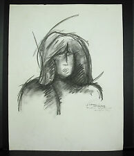 J M Thiere 1986 dibujo retrato carbón de leña 50 cm
