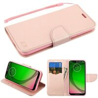 For Motorola Moto G7 PLAY Leather Flip Wallet Case Cover Folio Pouch Stand PINK