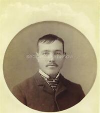 CABINET CARD PHOTO: Post Mortem MEMORIAL Handsome YOUNG MAN Unusual Hairstyle