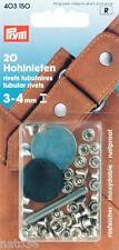 20 Hohlnieten Nieten Hohlniete 3 -4 mm silberf. 403150 PRYM Knopf Leder Tasche