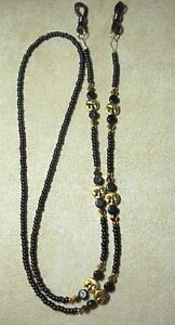 !! GOLD FACES  MADE WITH SWAROVSKI CRYSTAL EYEGLASS CHAIN HOLDER !!
