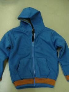 NWOT Boy's Zip Up Thermal Lined Hoodie Size 5 Blue/Brown #11
