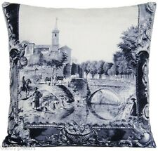 """Grey Cushion Cover Designers Guild Fabric Arles Printed Linen Black Silver 18"""""""