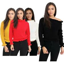Womens Polo Turtle Neck Ruffle Frill Edge Knit Chunky Sweaters Jumper Crop Top