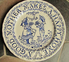 Royal Crownford Normas Sherman ' A Tribute to Mother'  Blue & White Plate 9 inch
