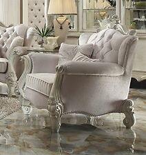 Acme Furniture 52107 Versailles Chair w/2 Pillows, Ivory Velvet & Bone White New