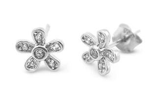Genuine Sterling Silver Round Flower Stud Earrings White Crystal Stones 8mm