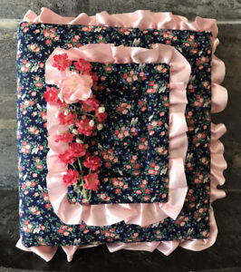 Vtg Padded Fabric Floral Birds Photo Album Cover Binder Ruffles 1980's Blue Pink