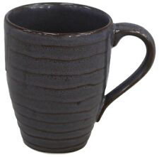 Set of 6 Large Coffee Mugs  Rippled Speckled Blue Stoneware 222 Fifth Studio