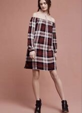 Anthropologie Cloth & Stone Plaid Off The Shoulder Plaid Swing Tunic Dress M