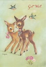 Vintage 1970's Get Well Soon Greeting Card ~ J.Lagarde ~ Cute Deer Fawn Bambi