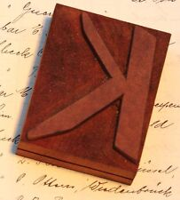 letter: K rare unused wood type letterpress printing block woodtype font antique