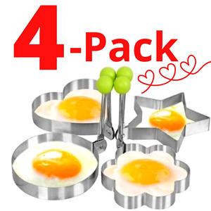 Molde Mold Para Cocinar Freir Huevos Egg Antiadherente Moldes de anillo (Pack 4)
