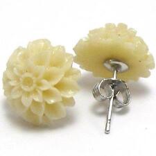 925 Sterling Silver Cream White Coral Flower Chrysanthemum Stud Earrings