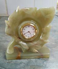 Handmade Onyx Marble Decorative leaf  Quartz Clock New