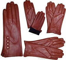 Leather gloves. Woman's Size (M) Red Leather Red winter Gloves. Dress Gloves BN