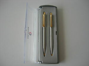 Sheaffer Set Stainles Steel & Gold  Ballpoint + Pencil