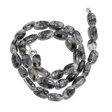 "Natural Black Rutile Quartz Gemstone Oval Smooth Beads Necklace 17"" Long FG6"
