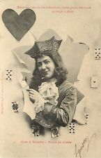 c1903 French Postcard Playing Card Les 4 Valets Sexy Jack of Hearts & Horoscope