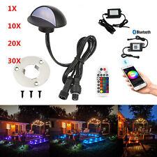 Bluetooth Ø50mm RGB Black Half Moon LED Deck Stair Post Lights Step Fence Lamps