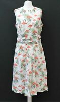 HOBBS Ladies Twitchill White Multi Sleeveless Cotton Dress UK12 BNWT RRP129