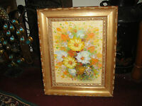 Stunning Daisy Floral Oil Painting On Canvas-Signed Farriau ?-Colorful-Framed
