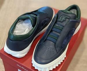 "$630 Mens Salvatore Ferragamo ""Philip 2"" Leather Mix Slip-on Sneakers Navy US 9"