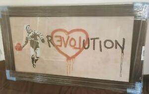'LOVE REVOLUTION' Huge Banksy Liquid Street Art Print in Wood Frame 3-D Glitter