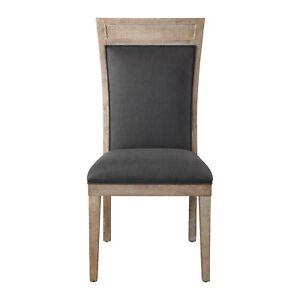 Rustic Exposed Light Wood Dining Side Chair   Dark Gray Black High Back Retro