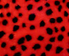 """Red & Black Ladybird Animal Print Patterned Fur Fabric 60""""Wide SOLD BY THE METRE"""