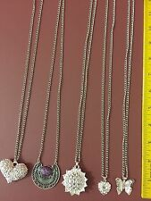 LOT OF 8 ASSORTED SILVER TONE NECKLACES - HEARTS, SUNFLOWER, BUTTERFLY, STONE