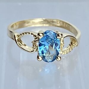 14K Authentic Solid Yellow Gold Women's Oval Aquamarine Ring Size 1.75