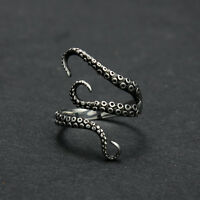 Vintage Steampunk Stainless Steel Octopus Finger Open Ring Adjustable Size Retro