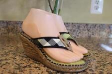 BURBERRY Women's Signature Green Plaid Wedge Flip Flops Size 37 (san100