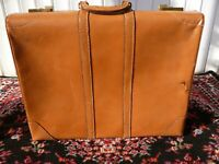Vintage Mid Century Heavy Weight Cowhide  Leather  Luggage Large Made in USA