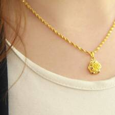 Women's Jewelry Yellow Gold Plated Water Wave Chain Rose Pendant Necklace