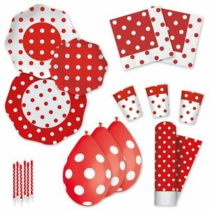 Red Polka Dot Disposable Tableware Plates Cups Napkins Party BBQ