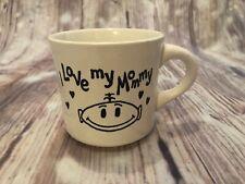 I love my Mommy Vintage Coffee Mug New Mom Baby Gift White Black Tea Hearts